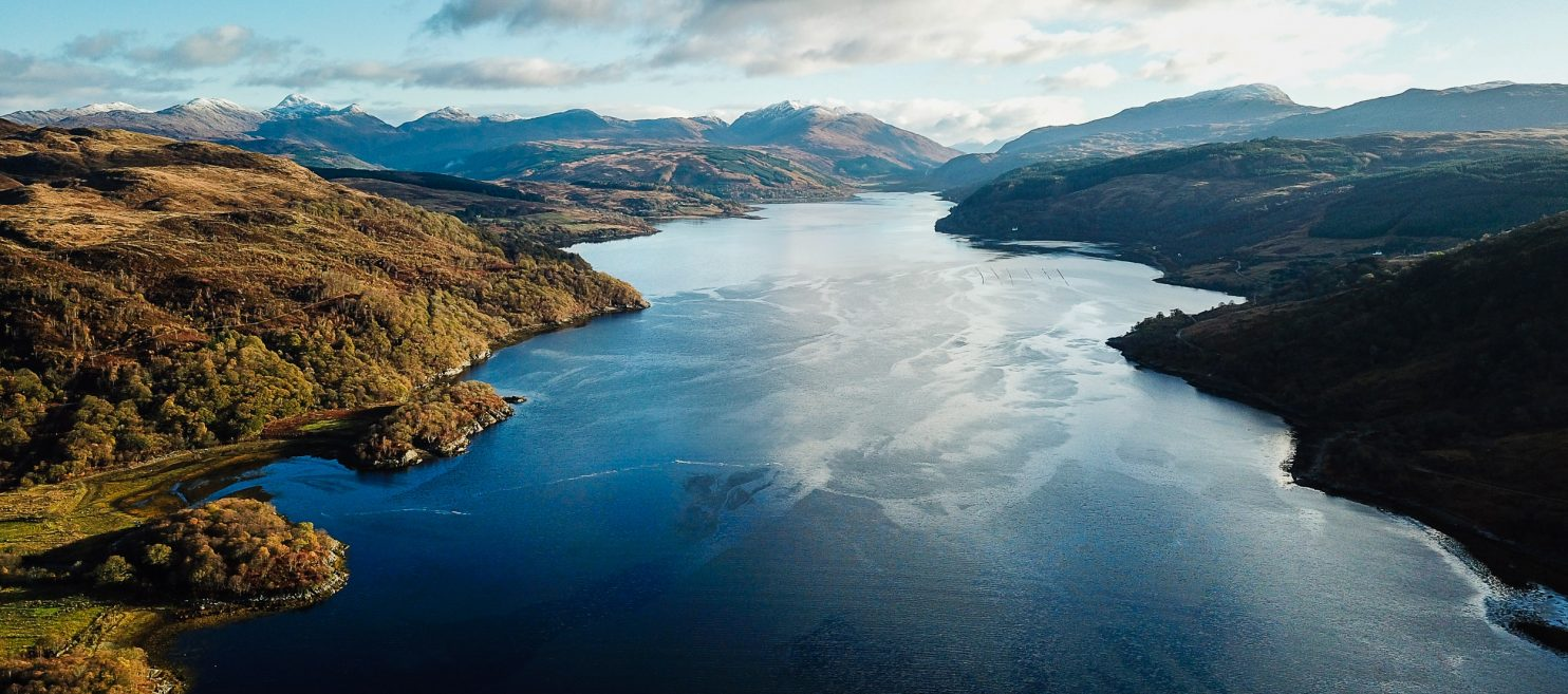 The head of Loch Sunart from above the Laudale Narrows