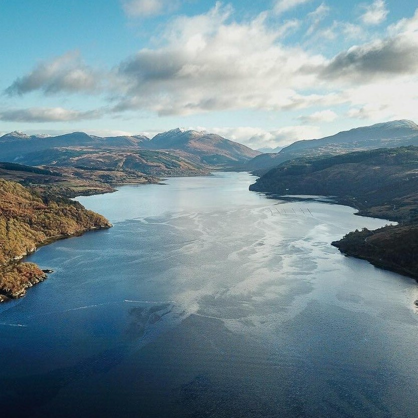 The head of Loch Sunart from a drone