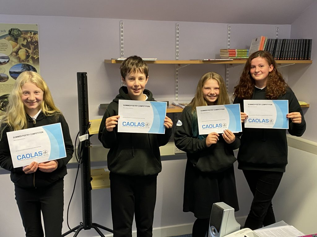 Some of the winners in CAOLAS' Summer Poetry Competition 2020 receiving their certificates